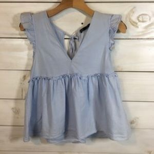 Zara TRF Collection Baby Blue Blouse